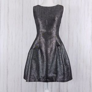 BAR III Silver Structured Fit & Flare Dress sz M